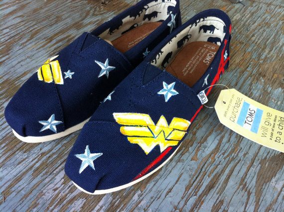 Wonder Woman TOMS by Sophiescustomshoes on Etsy, $80.00
