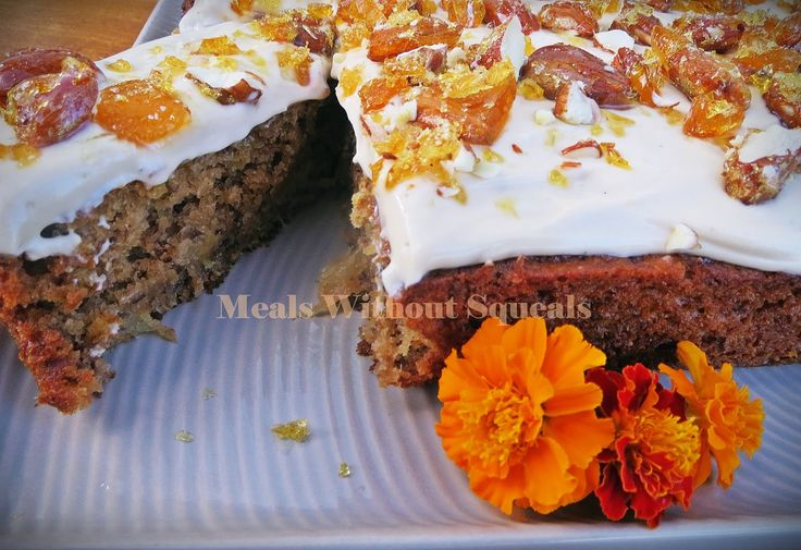 meals without squeals: Humming Bird Cake with Cream Cheese Frosting and Almond Brittle