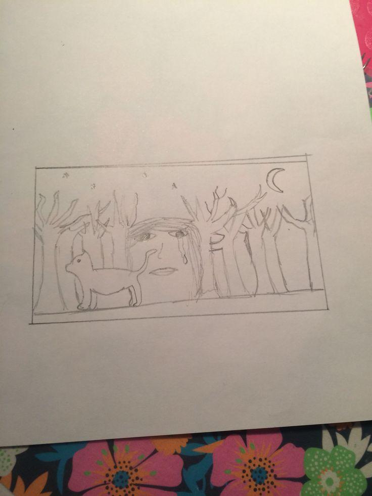 Schets. Een tekening van een poes die weg is gelopen en dan zie je achter bij de bomen een verdrietig gezicht. Deze schets heb ik ook gekozen voor mijn eindtekening.