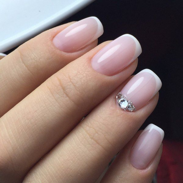 elegant nail designs with rhinestones French manicure ideas
