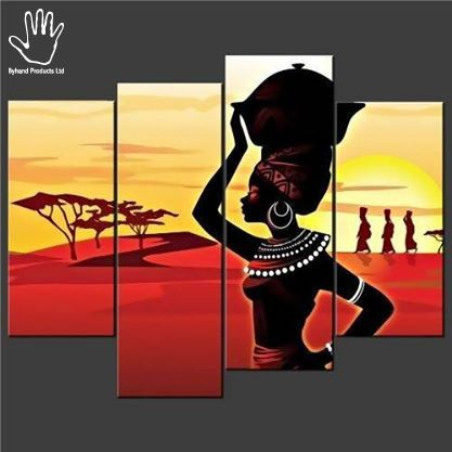 • 4 Piece  African Pot Painting • Strong African hand painting made on canvas. • Suitable for living rooms, dining areas, corridors or offices. • suitable for red colored walls, cream, white or yellow. Available at www.nuerasamp.com.