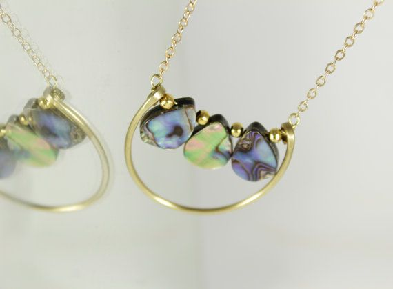 Abalone necklace Semicircle abalone sea Hammered brass by NoaZen