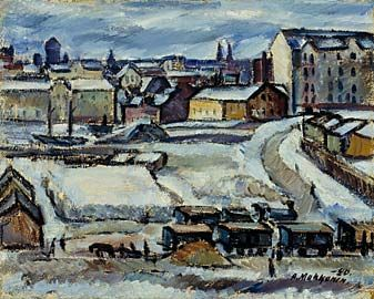 Arvo Makkonen, maalaus 1920. Hakaniemen tori.