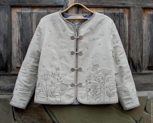 Пиджаки, жакеты ручной работы. Ярмарка Мастеров - ручная работа. Купить Жакет-душегрея для Эльвиры. Handmade. Жакет душегрея льняной