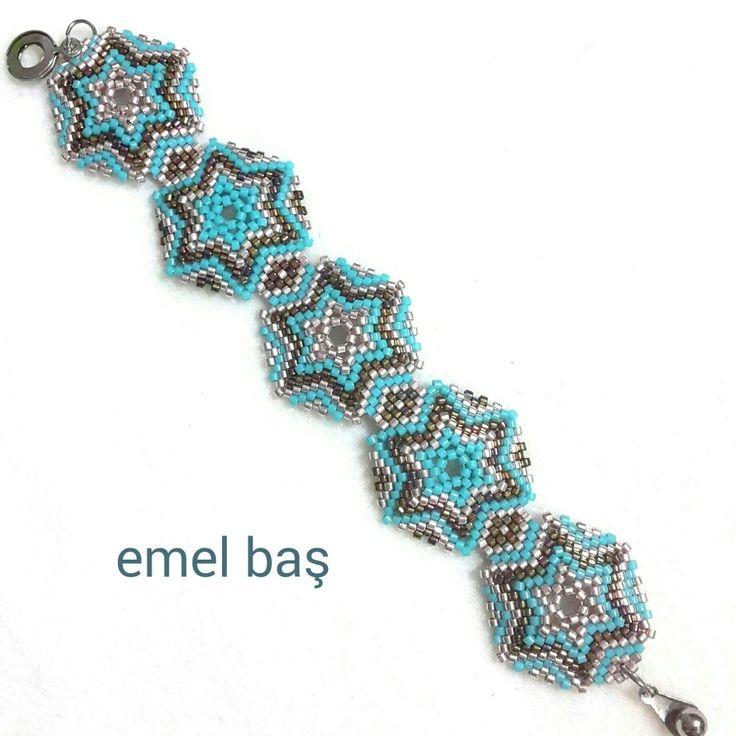 Hexagon peyote bracelet by Emel Bas from Turkey