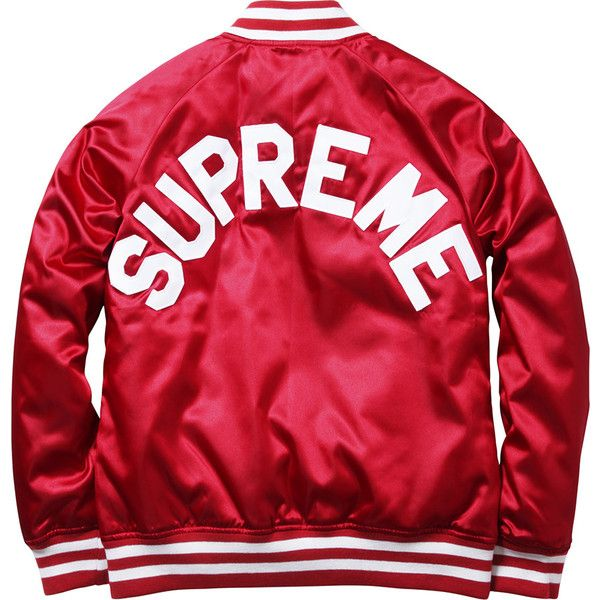 Supreme Supreme/Champion Satin Jacket ❤ liked on Polyvore featuring outerwear, jackets, men, satin jackets, red jacket, champion jacket and red satin jacket