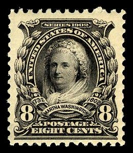 First woman on a US postage stamp, 1902, Martha Washington.