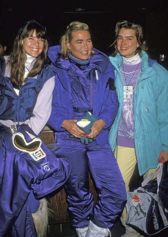 Carol Alt, Margaux Hemingway, and Brooke Shields attend the second annual Pepsi Celebrity Ski Invitational and Quebec Winter Carnival Weekend, Mont-Sainte-Anne, Beaupré, Quebec, Canada, February 5, 1988