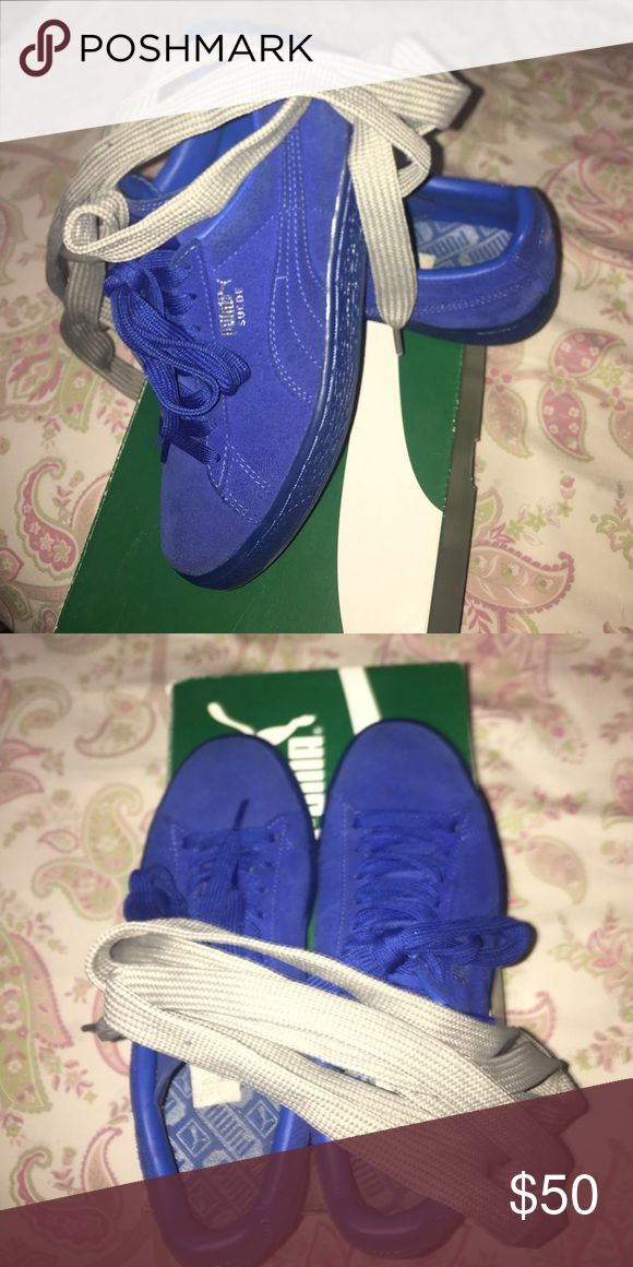 Royal Blue Puma (suede) Size 6 us; size 38 euro. I only wore it twice and never wore it again. Selling them because I don't want them and taking up space Puma Shoes Sneakers