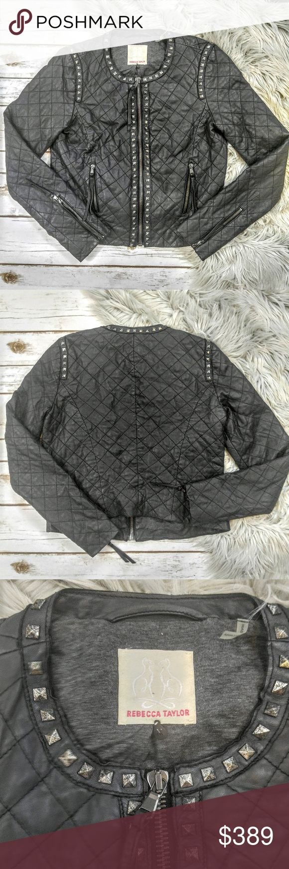 Rebecca Taylor Black Studded Leather Jacket Rebecca Taylor Black Studded Quilted Leather Jacket Size M in excellent used condition. This features wrist zippers, and two front zippered pockets. Perfect with some distressed skinny jeans and ankle booties. Let me know if you have any questions! This originally retailed for $1299 and I will consider reasonable offers. I ship the same day as long as the order is placed before 11 AM Central time. Happy poshing! Rebecca Taylor Jackets & Coats