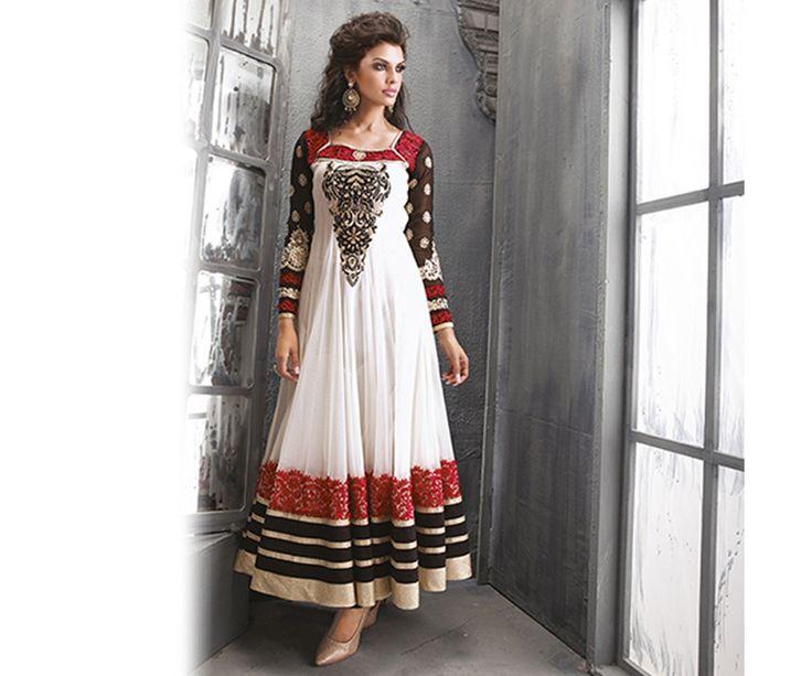 White Anarkali Salwar Suit