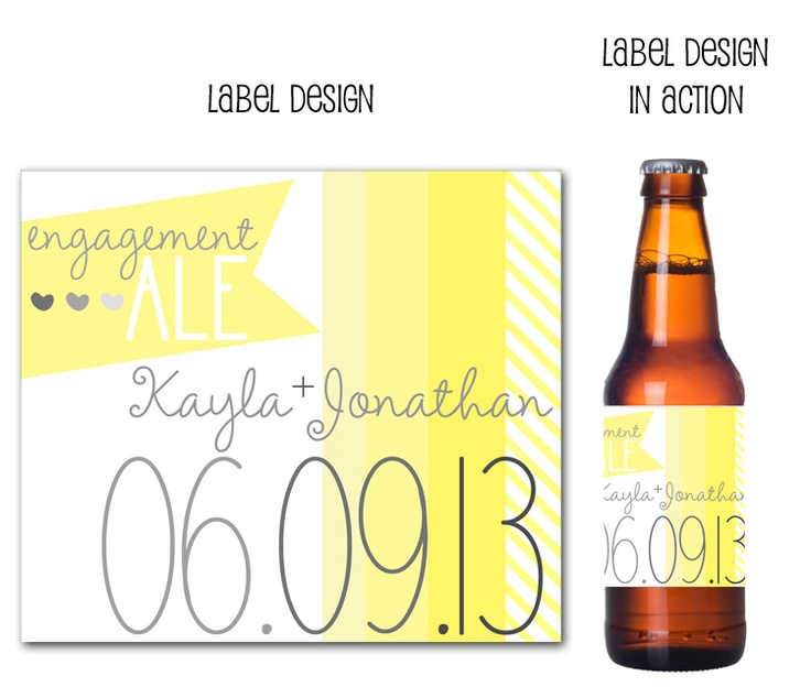 beer bottle labels, custom beer bottle labels, drink wraps via party box design, yellow ombre, wedding, grey and yellow wedding