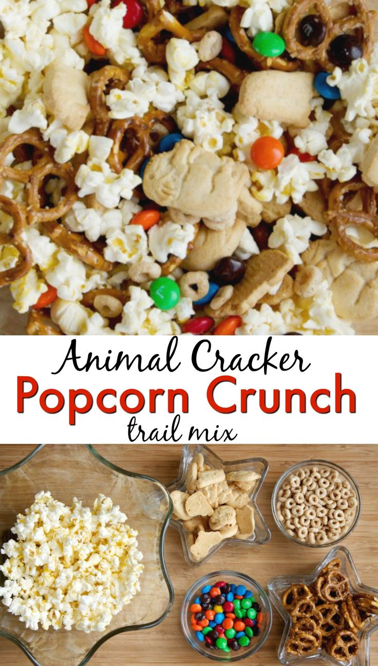 Animal Cracker Popcorn Crunch Trail mix. The perfect snack for toddlers, kids or even adults. This trail mix treat has a delicious combination of salty and sweet.  via @mellisaswigart