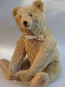 RARE ANTIQUE STEIFF TEDDY BEAR 1920s GOLD BEAR w. LONG F BUTTON HUNCHBACK BEAR