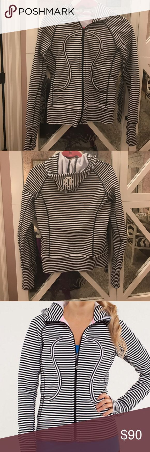Lululemon Black and White strip Scuba Hoodie Black and white striped Lululemon Scuba hoodie. Lightly worn, only a few wears. Still feels like new. Pink piping accent. Size 4 lululemon athletica Tops Sweatshirts & Hoodies