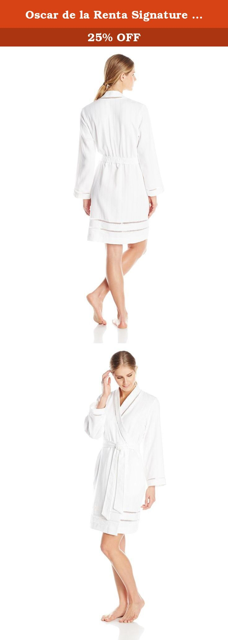 Oscar de la Renta Signature Women's Brushed Cotton Short Spa Robe, White, Medium/Large. Soft and luxe, our cotton spa short robe is an elegant essential from day to night. Fabricated in a brushed cotton stripe waffle and trimmed with a woven cotton border and venise lace inset.