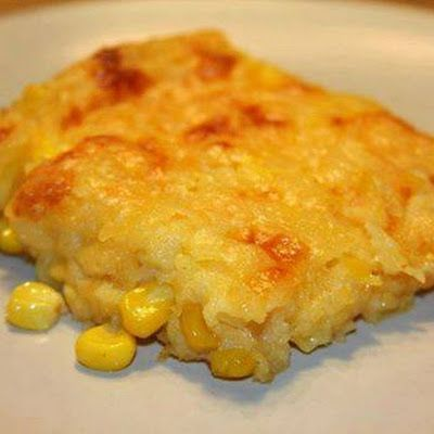 Corn Casserole 1 box Jiffy 1 can cream corn 1 can whole kernel corn drained 1 stick butter melted 1 Cup Sour cream Mix all together in casserole adding the sour cream last. Bake in 350 oven for 45 minutes.