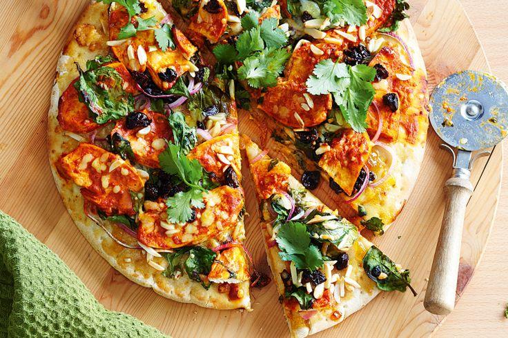 Tandoori chicken pizza, May 23, 2013  http://www.taste.com.au/recipes/30489/tandoori+chicken+pizza