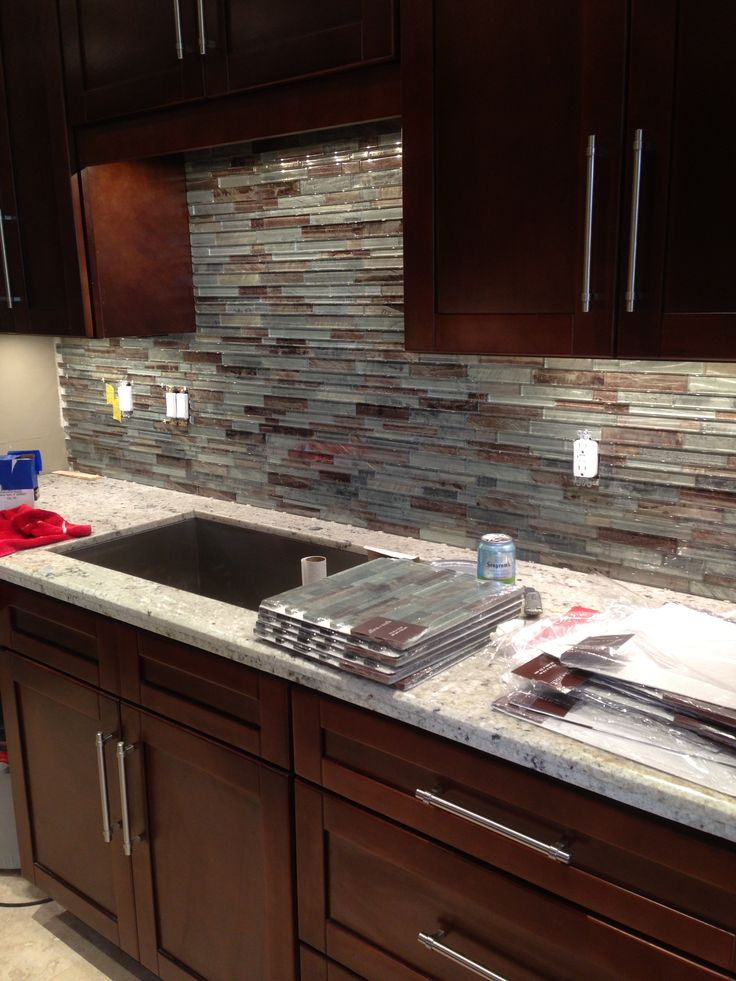Glass Tile Backsplash For Condo Kitchen.