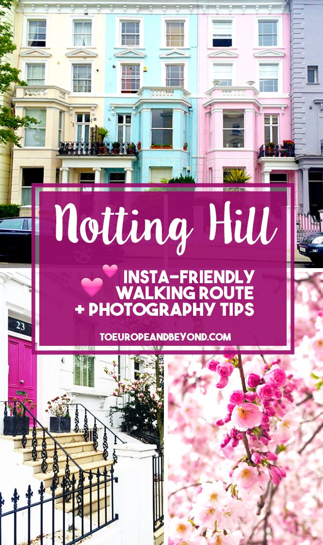 """Completing this 5-kilometres circuit could take you anywhere between one and six hours; it really depends on your pace, and on how many times you stop and say """"Oh wait I gotta Instagram this"""" and ask your Instagram husband to move the rubbish bin ;-) http://toeuropeandbeyond.com/love-letter-notting-hill-colourful-houses-walking-itinerary/ #travel #London #NottingHill"""