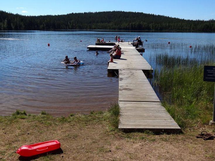 Valkeajärvi swimming beach at Ritavaara in Pello in Lapland