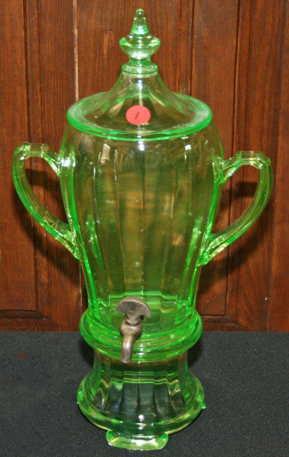 *DEPRESSION GLASS ~  Paden City, Percolator, 3 Piece, Green. c.1930