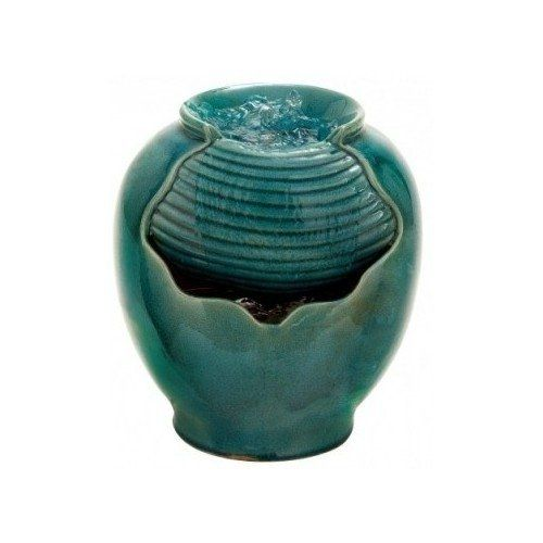 Indoor Outdoor Water Fountain, Portable Turquoise Tabletop Accent Waterfall. Transitional & Versatile Design Perfectly Blends With Your Living Room, Bedroom, Kitchen, Garden or Any Home Decor - Weather Resistant Blue Green Ceramic Glass Cut Away Vase. Nature's Garden http://www.amazon.com/dp/B00OK3H240/ref=cm_sw_r_pi_dp_G8v5ub0W6GN8V