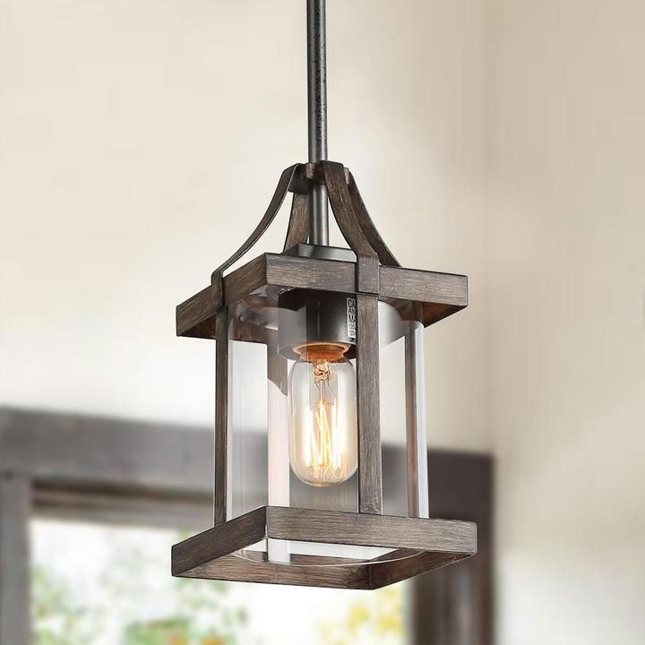 Cubic Faux Wood Pendant | Farmhouse dining room lighting
