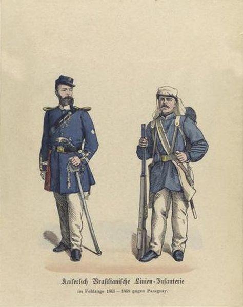 Oficial e soldado do Império do Brasil - uniformes da Guerra do Paraguai