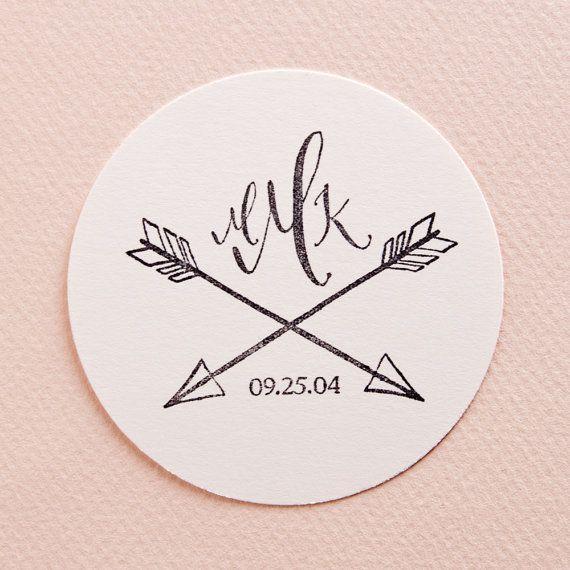 Double Arrow Calligraphy Wedding Monogram Date by kmcalligraphy, $45.00