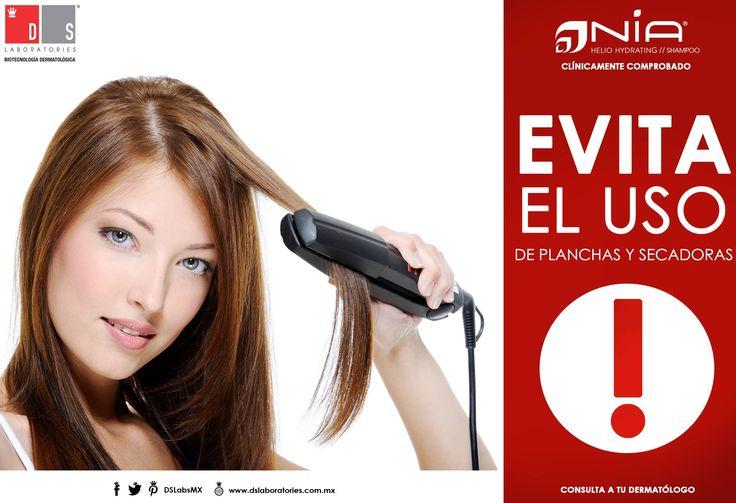 Una de las cosas que debes evitar es el uso excesivo de herramientas térmicas en tu #cabello, ya que pueden dejarlo maltratado, seco y sin brillo. #CuidaTuCabello con #Nia.