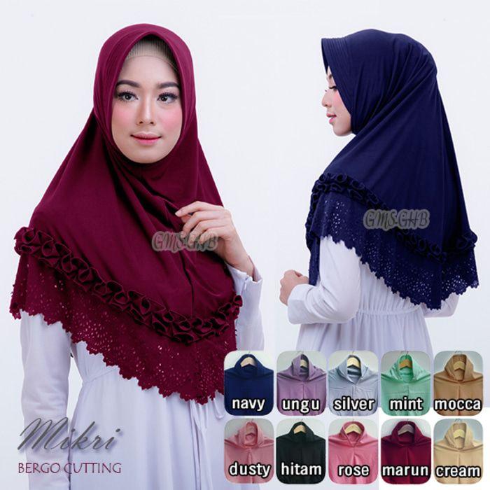 Hijab Bergo Mikri Cutting / Jilbab Mikri / Kerudung Pad antem Keterangan hijab: Model Jilbab bergo pad antem (anti tembem) Aksen rempel tengah dan cutting