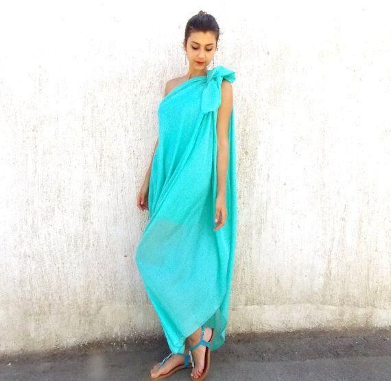 Emerald Plus Size Maxi Dress / Asymmetrical Oversize by Teyxo, $99.00