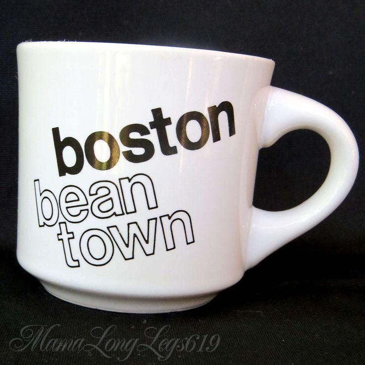 Vintage Bean Town Boston Massachusetts FONT Text Coffee Mug Cup Papel US Travel