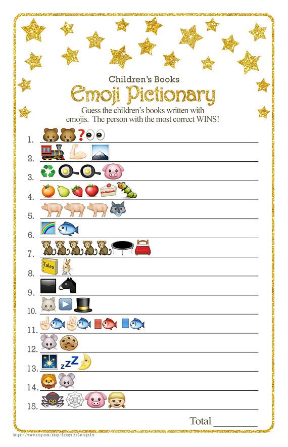 Children's Books EMOJI Pictionary game with whimsical gold ...