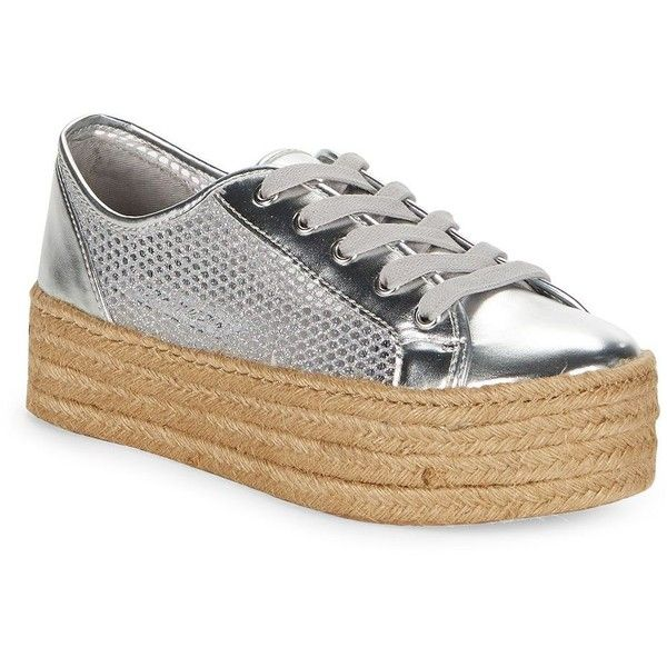 Steve Madden Mars Metallic Espadrille Platform Sneakers ($59) ❤ liked on Polyvore featuring shoes, sneakers, silver, platform shoes, platform trainers, steve madden shoes, lace up platform espadrilles and metallic shoes