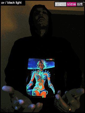 """B.I.O.mechanoid"" UV-Blacklight Fluorescent & Glow-In-The-Dark Phosphorescent Psychedelic Art Mens Hoodie, £28 in Tripleview Art Web Shop.  #psychedelic #psy #trance #psytrance #goatrance #rave #trippy #hippie #esoteric #mystic #spiritual #visionary #symbolism #UV #blacklight #fluorescent #fluoro #fluo #neon #glow #glowinthedark #phosphorescent #luminescent #art #hoodie #transhuman #biomechanoid #cyborg #sciencefiction #scifi #cyberpunk"
