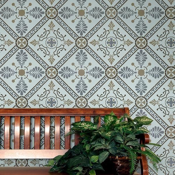 The Grecian Tile Damask Wall Stencil has a geometric and art deco pattern. This Allover Wall Stencil can be painted in muted or contrasting colors for classic home decor inspired by Greek design.