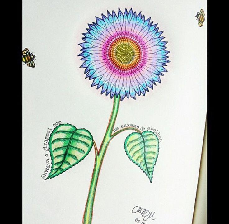 Sunflower Secret Garden Girassol Jardim Secreto Johanna Basford Coloring