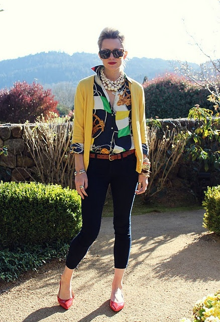 fab silk blouse, yellow cardigan, + pearls. Summer outfit