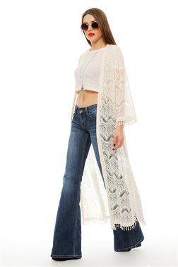 Long Line Laced Kimono - ΡΟΥΧΑ -> Kimono & Jackets | Made of Grace