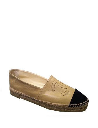 Chanel Lambskin Espadrilles With Canvas Cap-Toe