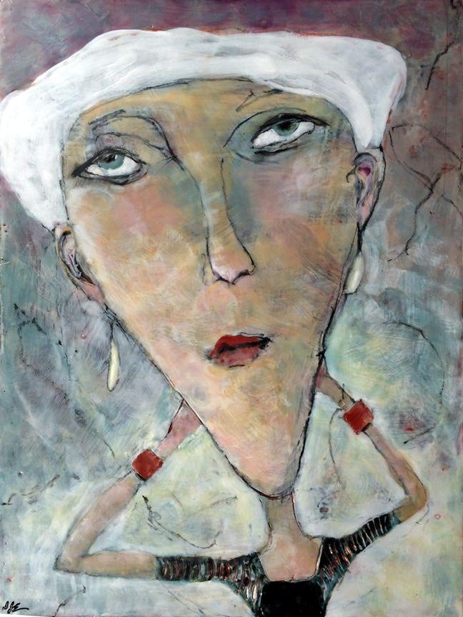 """Rita,"" encaustic on birch substrate, 24x18 - Dianne Jean Erickson Artist"