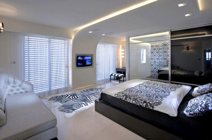 Idées de conception faux plafond chambre à coucher design : chambre à coucher avec plafond suspendu suspente faux plafond blanc