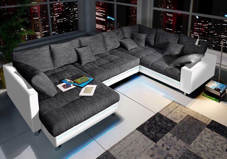 Wohn-Landschaft schwarz, Recamiere links, Mit RGB-LED-Beleuchtung, Energieeffizienzklasse: A, FSC®-zertifiziert, inklusive loser Zier- und Rückenkissen, yourhome Jetzt bestellen unter: https://moebel.ladendirekt.de/wohnzimmer/sofas/wohnlandschaften/?uid=05fb4717-6a37-5883-8cfb-2dd16d0927e3&utm_source=pinterest&utm_medium=pin&utm_campaign=boards