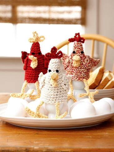 Chicken Egg Cozies Free Crochet Pattern by Lily Sugar 'n Cream Yarnspirations.com