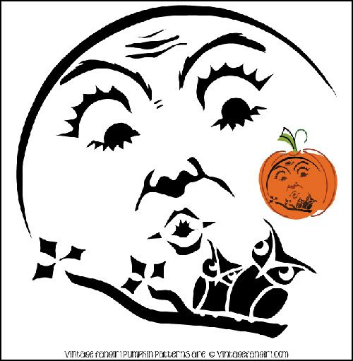 Vintage Halloween Moon and Owl Pumpkin Stencil