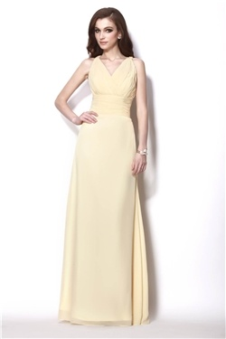 V Neck With Rouched Bodice Floor Length Dress @Kim Pattison this one is so pretty ;)  Thanks, Ginnie!!
