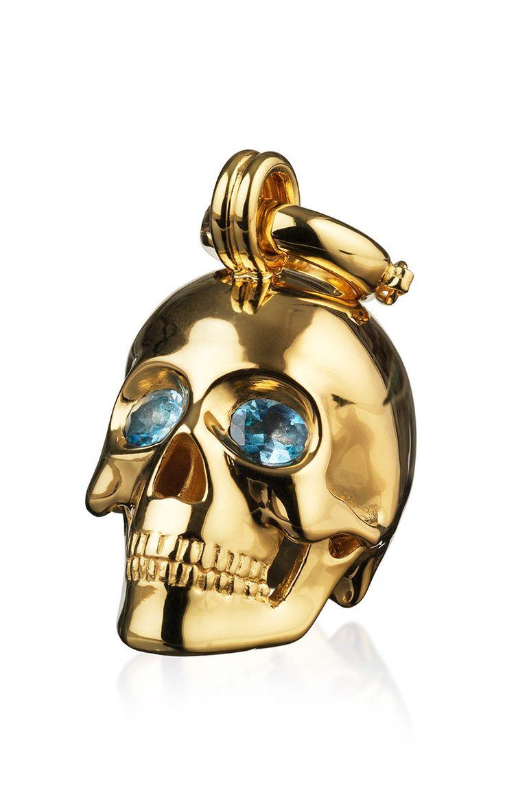 Gold Kranio Human Skull With Sapphire Stones by Maia for Preorder on Moda Operandi