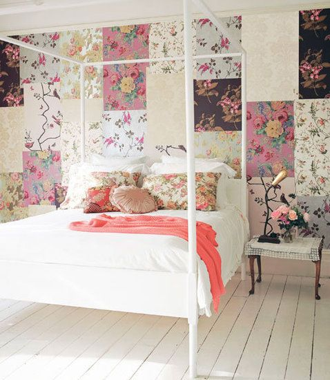 Create A Patchwork Feature Wall: 15 Romantic And Feminine Bedrooms: Use Wallpaper Remnants